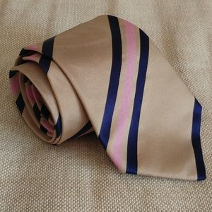 Burberry London Tie for Men Tan Navy Pink Color